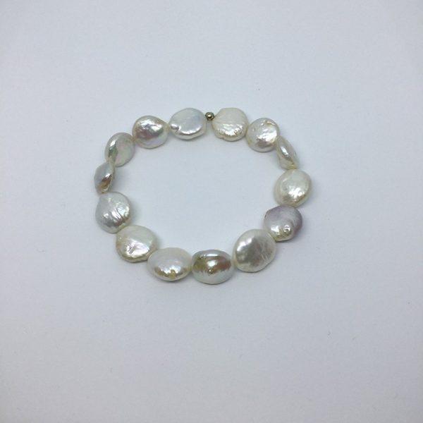 Pulsera elástica de perlas de cultivo coin